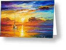 Lonely Sea 2 - Palette Knife Oil Painting On Canvas By Leonid Afremov Greeting Card