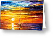 Lonely Sea 3 - Palette Knife Oil Painting On Canvas By Leonid Afremov Greeting Card