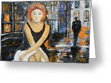 Lonely Woman Lonely Man Greeting Card
