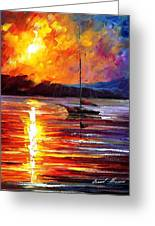 Lonely Yacht - Palette Knife Oil Painting On Canvas By Leonid Afremov Greeting Card