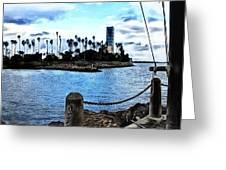 Long Beach Bay / Paintbrush Effect Greeting Card