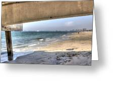 Long Beach From Beneath The Pier Greeting Card