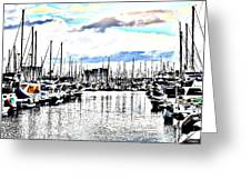 Long Beach Marina / Colored Pencil Effect Greeting Card