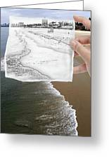 Long Beach Shoreline / Torn Sketch Effect Greeting Card