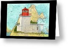 Long Eddy Pt Lighthouse Nb Canada Chart Art Peek Greeting Card