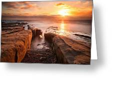 Long Exposure Sunset At A Rocky Reef In Greeting Card