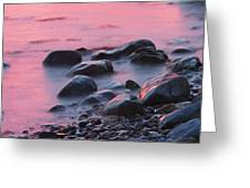 Long Exsposure Of Rocks And Waves At Sunset Maine Greeting Card