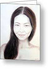 Long Haired Natural Asian Beauty Greeting Card by Jim Fitzpatrick