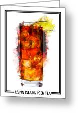 Long Island Iced Tea Cocktail Marker Sketch Greeting Card