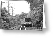 Long Island Railroad Pulling Into Station Greeting Card