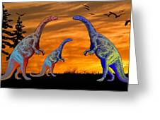 Long Necked Long Tailed Family Of Dinosaurs At Sunset Greeting Card