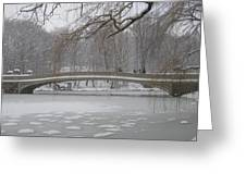 Long Snow Covered Bridge Greeting Card
