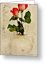 Long Stemmed Red Roses In Pottery Greeting Card