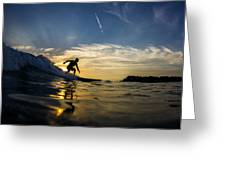 Longboarding Into The Sunset Greeting Card