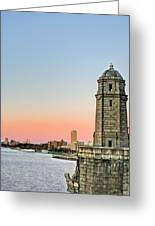 Longfellow Bridge Tower Greeting Card by JC Findley