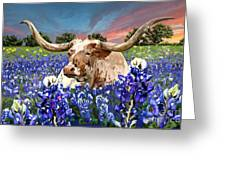 Longhorn In Bluebonnets Greeting Card