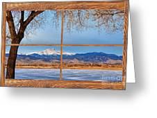 Longs Peak Across The Lake Barn Wood Picture Window Frame View Greeting Card