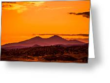Longs Peak Smoke And Sunset Greeting Card by Rebecca Adams