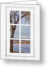 Longs Peak Winter View Through A White Window Frame Greeting Card