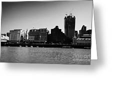 looking across the river thames at the city of London England UK Greeting Card