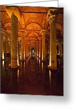 Looking Along Row Of Columns Greeting Card
