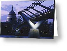 Looking Along The Millennium Bridge Greeting Card
