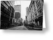 looking down granville street shopping area between the bay and pacific centre Vancouver BC Canada Greeting Card by Joe Fox
