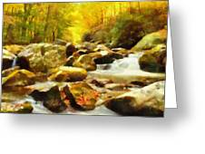 Looking Down Little River In Autumn Greeting Card