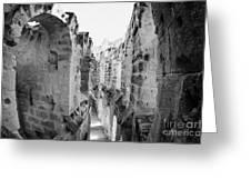 Looking Down On Internal Walkways From Upper Tier Of Old Roman Colloseum El Jem Tunisia Greeting Card