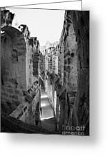 Looking Down On Internal Walkways From Upper Tier Of Old Roman Colloseum El Jem Tunisia Vertical Greeting Card