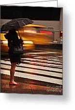 Looking For A Taxi - Rush Hour New York Greeting Card