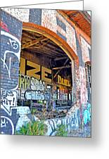 Looking Inside The Old Train Roundhouse At Bayshore Near San Francisco And The Cow Palace IIi  Greeting Card