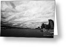 looking out from coal harbour into Vancouver Harbour on an overcast cloudy day BC Canada Greeting Card