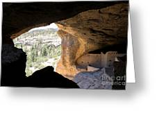 Looking Out Of A Cave Of Gila Dwellings Greeting Card