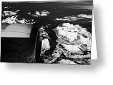 Looking Out Of Aircraft Window Past Engine And Over Snow Covered Fjords And Coastline Of Norway Euro Greeting Card