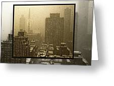 Looking Out On A Snowy Day - Nyc Greeting Card