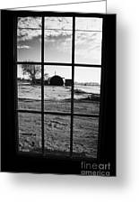 looking out through door window to snow covered scene in small rural village of Forget Greeting Card by Joe Fox