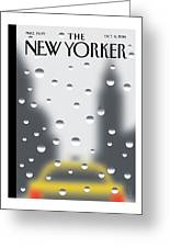 Looking Through A Window On A Rainy New York Day Greeting Card