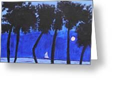 Looming Shore At Night Greeting Card