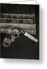 Lorgnette With Books Greeting Card