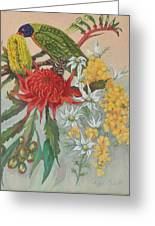 Lorikeet And Wildflowers Greeting Card