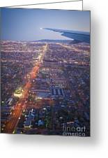 Los Angeles Aerial Overview On Approach To Lax At Night  Greeting Card
