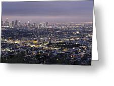 Los Angeles At Night From The Griffith Park Observatory Greeting Card