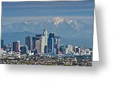 Los Angeles Skyline Mt Baldy Snowcap Greeting Card