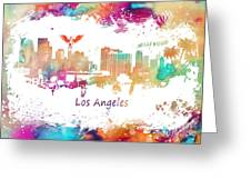 Los Angeles California Skyline Colored Greeting Card