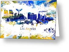 Los Angeles California Skyline Yellow Blue Greeting Card
