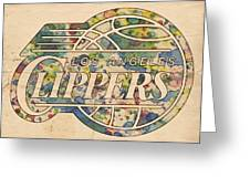 Los Angeles Clippers Poster Art Greeting Card