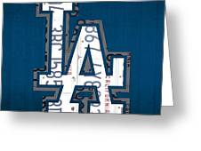 Los Angeles Dodgers Baseball Vintage Logo License Plate Art Greeting Card