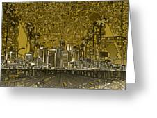 Los Angeles Skyline Abstract 4 Greeting Card
