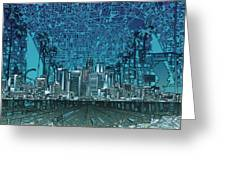 Los Angeles Skyline Abstract 5 Greeting Card